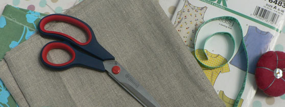 dressmaking for beginners - fabric, scissors and sewing pattern