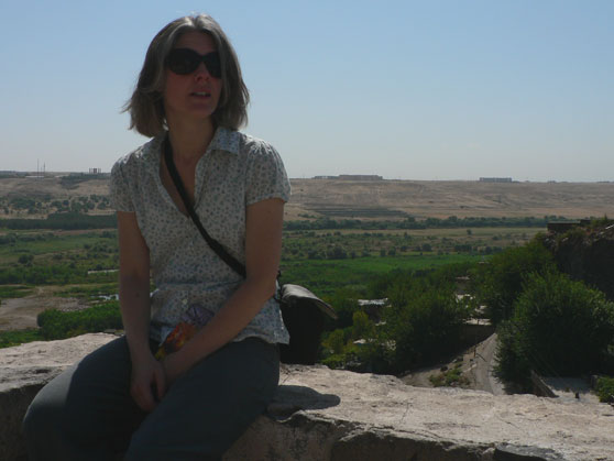 Me sitting on walls of Diyarbakir overlooking Tigris valley