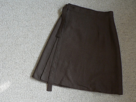 Brown wrap skirt laid flat