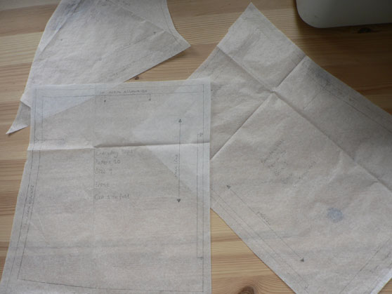 Tracings of pattern pieces with markings and seam allowances added