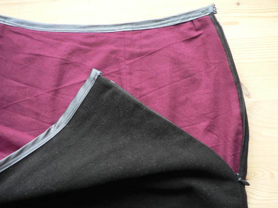Close-up of top of skirt to show concealed zip and waistline binding