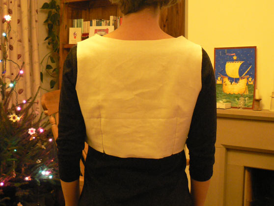 Me wearing toile of dress bodice