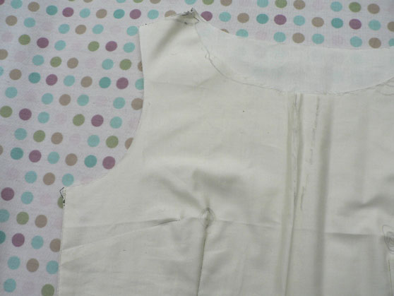 Toile for dress bodice showing alterations to make