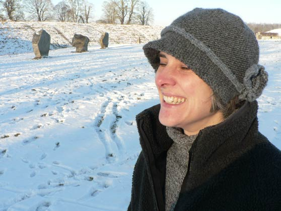Me wearing knitted cloche hat at Avebury