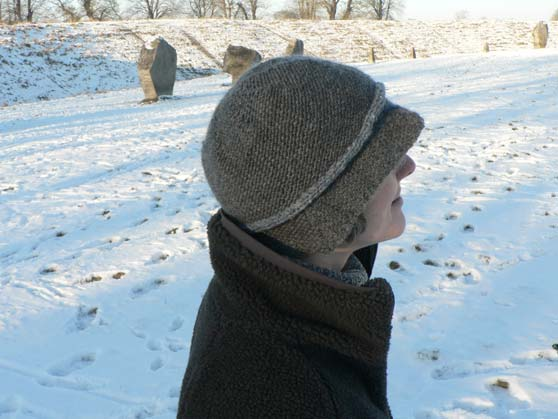 e737b44efb2 Me wearing knitted cloche hat at Avebury