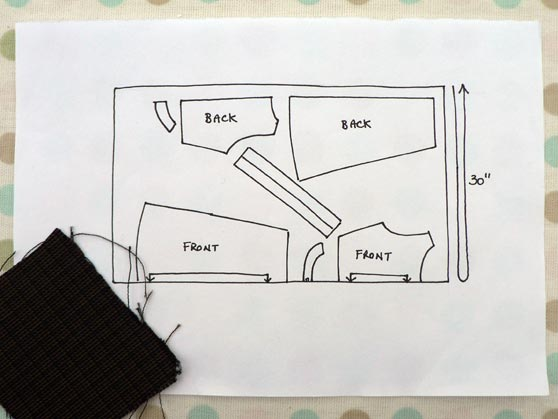 Sketch of layout and fabric sample