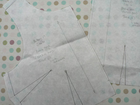 Pattern pieces for toile of bodice to make dress
