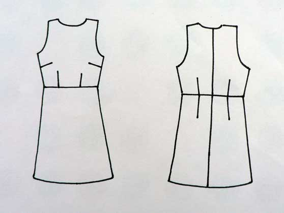 Drawing of A-line sleeveless fitted dress showing darts and seams