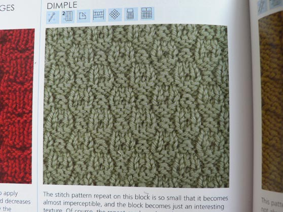 Photo of dimple knitting stitch from book