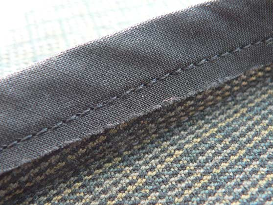 Close-up of bias strip and stitching