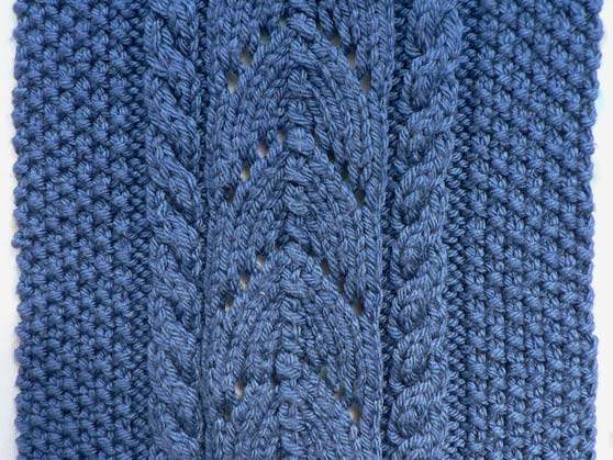 Close-up of knitting stitches in blue wool