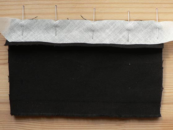 Bias strip pinned to seam edge for Hong Kong seam finish