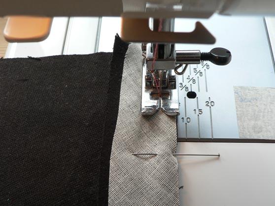 Sewing machine close up of stitching