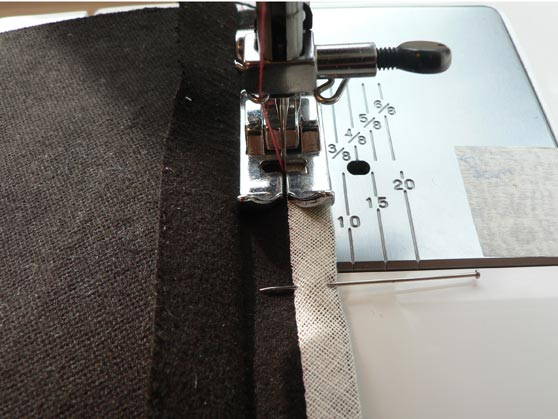 Sewing Hong Kong seam finish in place on sewing machine