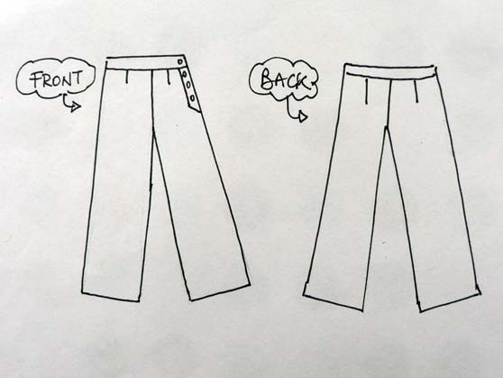 Sketch of front and back of trousers