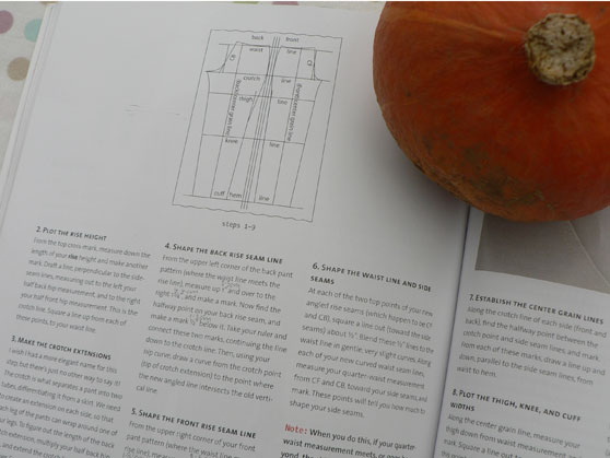 Open pages of Design-it-yourself Clothes and a squash